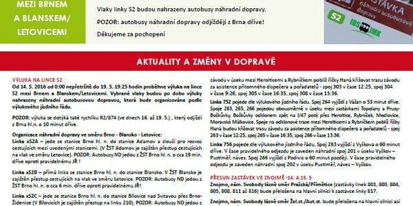 Informace o změnách v dopravě v Jihomoravském kraji