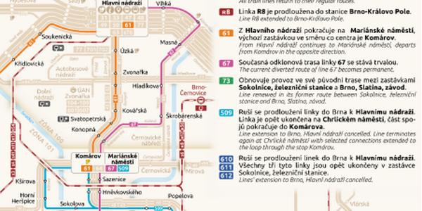 Přehled změn jízdních řádů v Brně od 15. prosince 2019