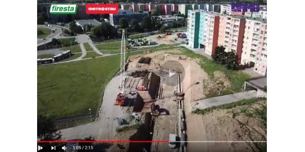 Video: stavba tramvajové trati k Univerzitnímu kampusu - červen 2020