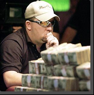 Obrázek zamyšleného hráče pokeru