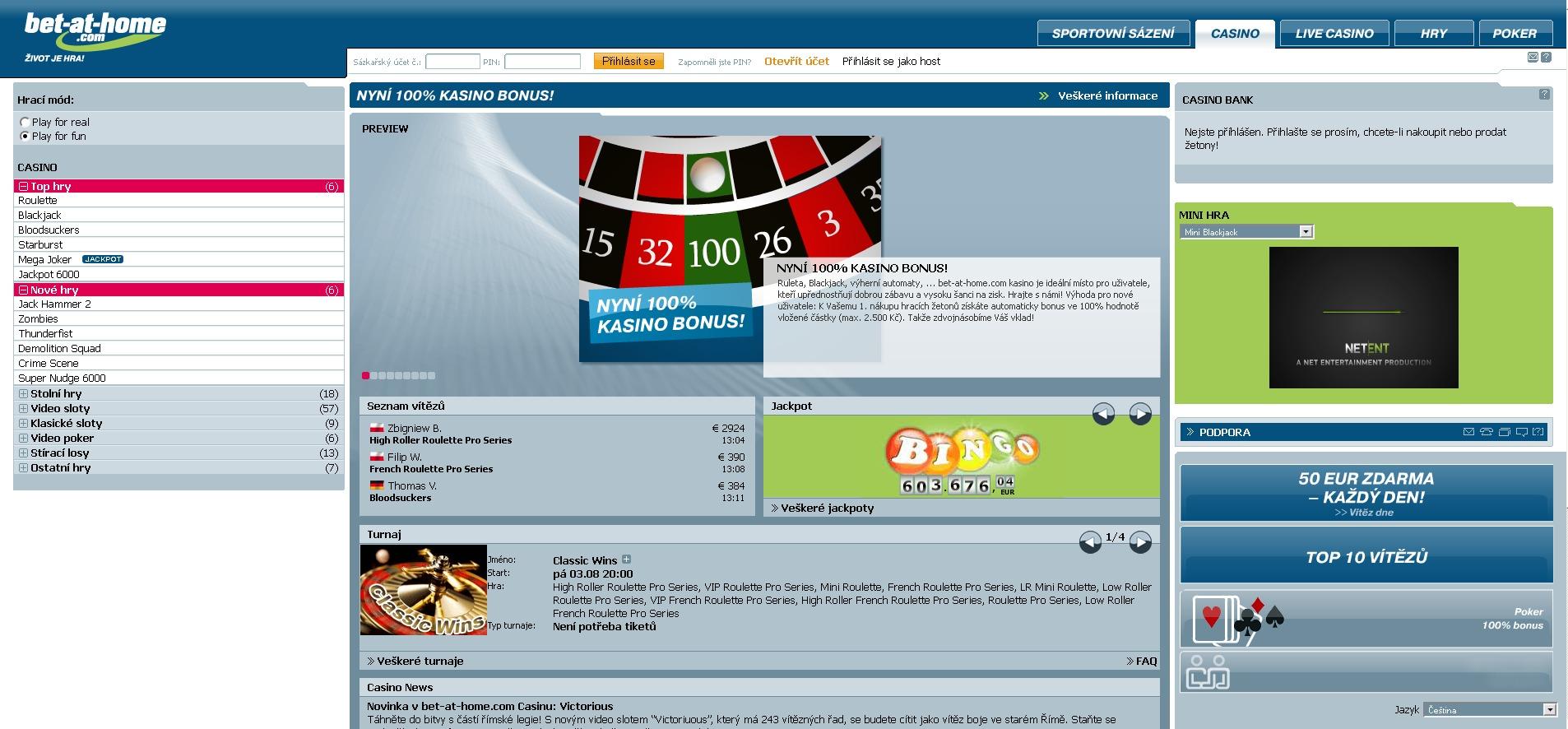 Casino bet-at-home náhled na úvodní stranu