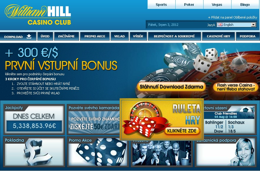 Casino William Hill náhled na úvpdní stranu