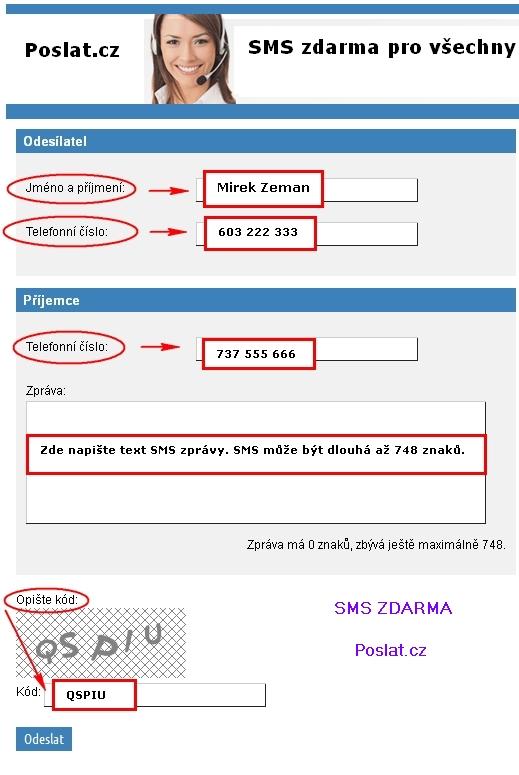obrázek jak poslat SMS zdarma do všech sítí