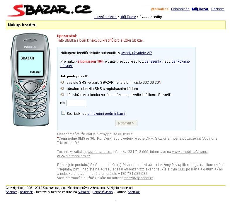 obrazek dobití kreditu na sbazar.cz