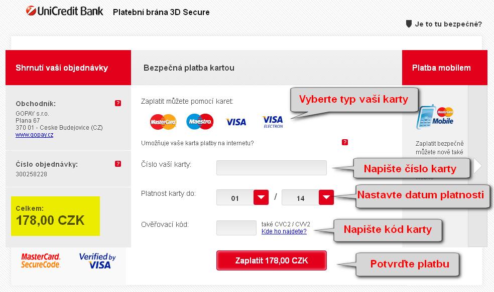 platba eknihy na eknihovna.cz - bankovní formulář