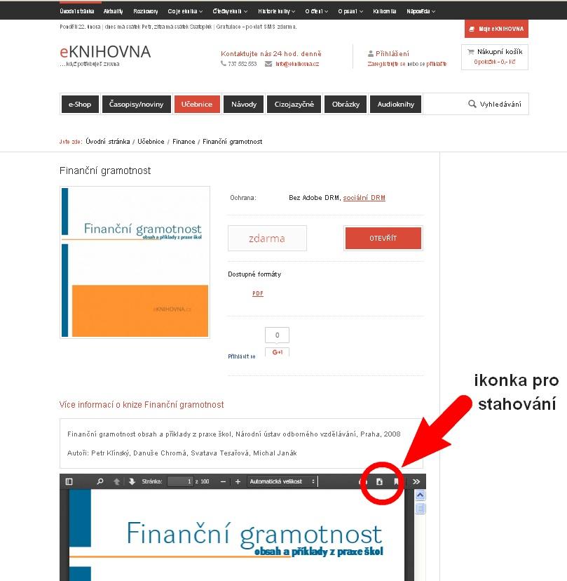 stahování eknihy zdarma PDF prohlížeč eKNIHOVNA