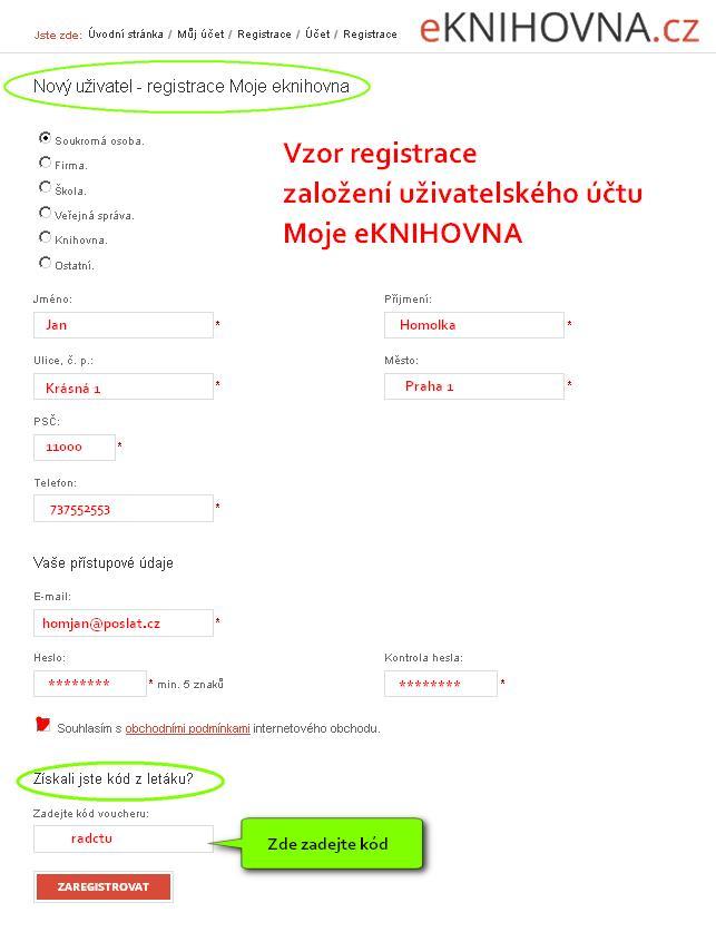 obrázek eknihovna.cz - registrace uživatelského účtu pro stahování eknihy zdarma