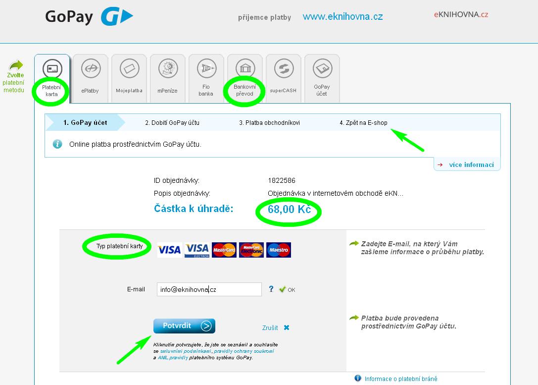 náhled online platební brána eknihovna