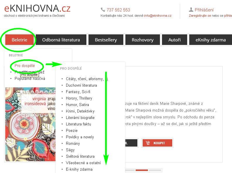 náhled na menu stránky eKnihovna