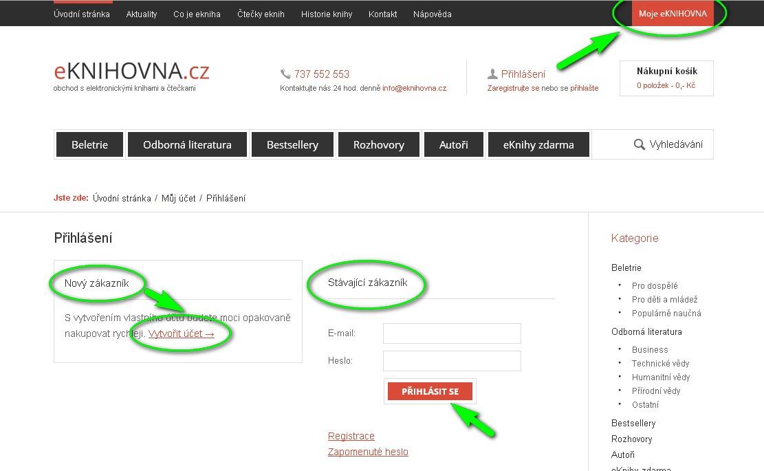 náhled stránky přihlášení nebo nová registrace eknihovna