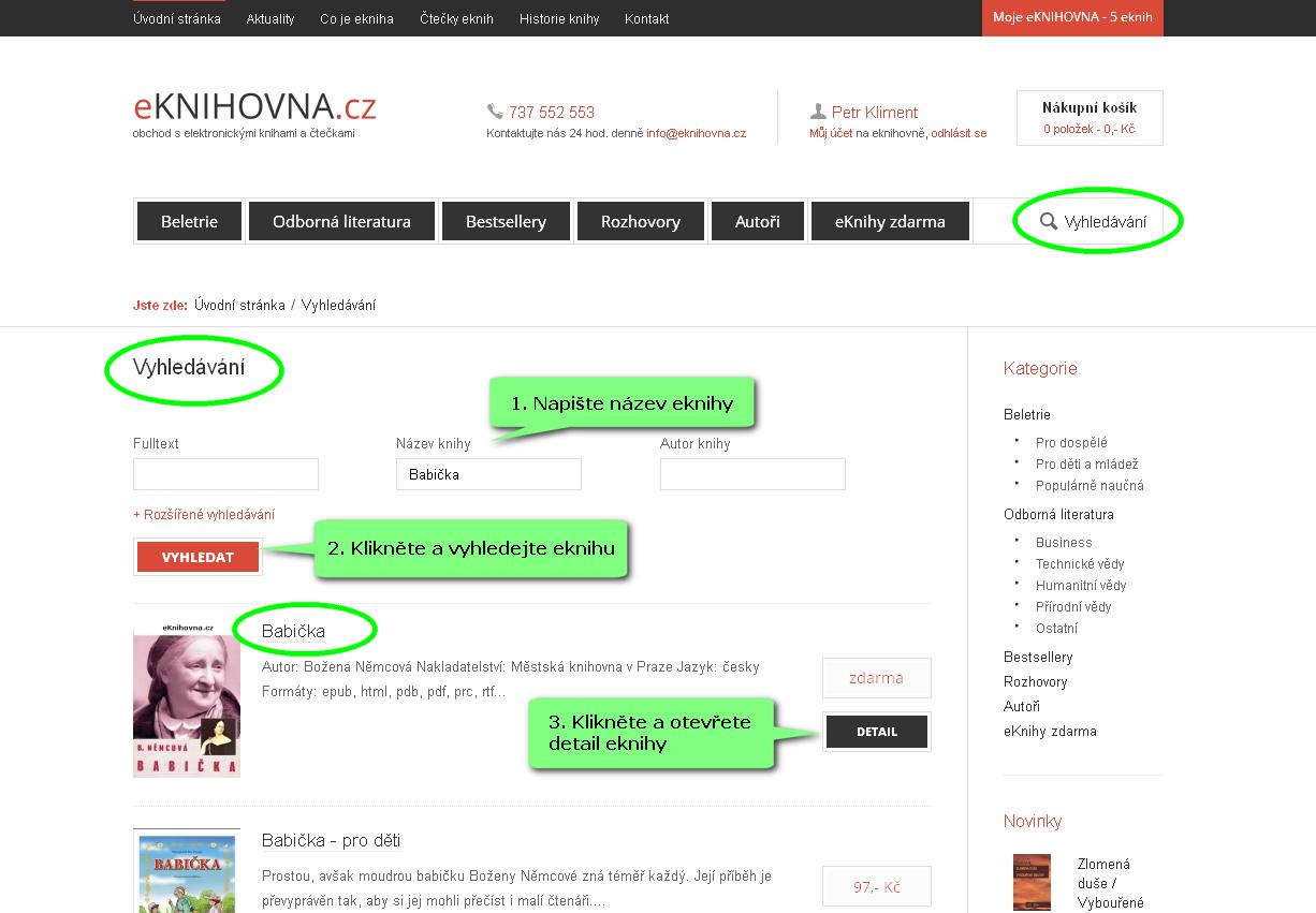 Náhled strany na vyhledávání eknihy na eKnihovna.cz
