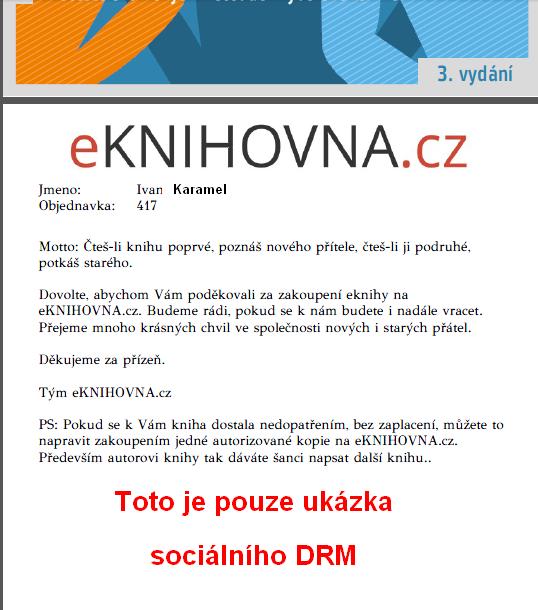 obrázek ukázky sociálního DRM v eknize