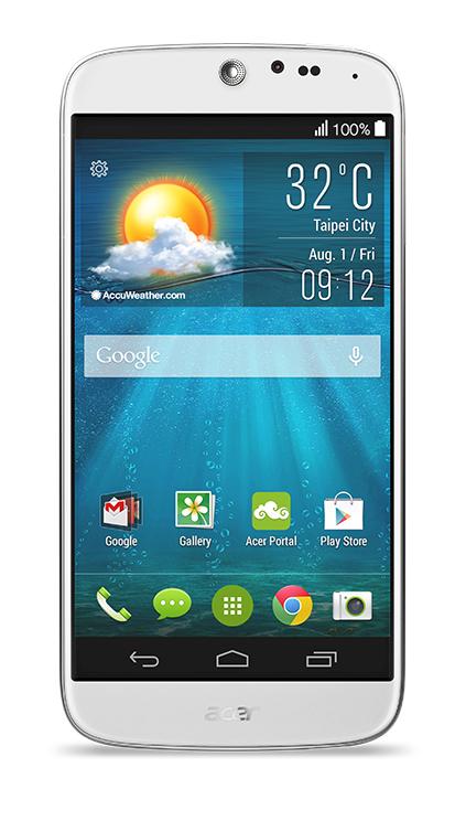 fotografie smartphone Acer Liquid Jade bílý - čelní pohled